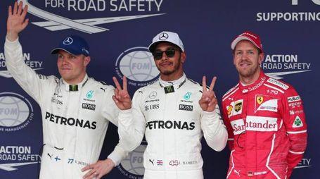 Bottas, Hamilton e Vettel dopo le qualifiche al Gp del Giappone 2017 (Afp)