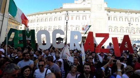 Manifestazione dl M5s contro il Rosatellum bis (lapresse)
