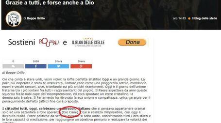 La bestemmia, subito cancellata, sul blog di Grillo (Dire)