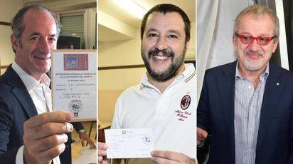 Referendum autonomie: Zaia, Salvini e Maroni - Ansa