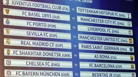 Sorteggio di Champions League: gli ottavi di finale (Ansa)