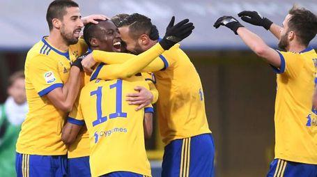 Bologna-Juventus, l'esultanza dei bianconeri (LaPresse)