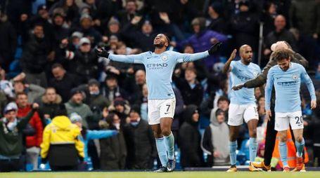 Esultanza Raheem Sterling, autore di una doppietta contro il Tottenham