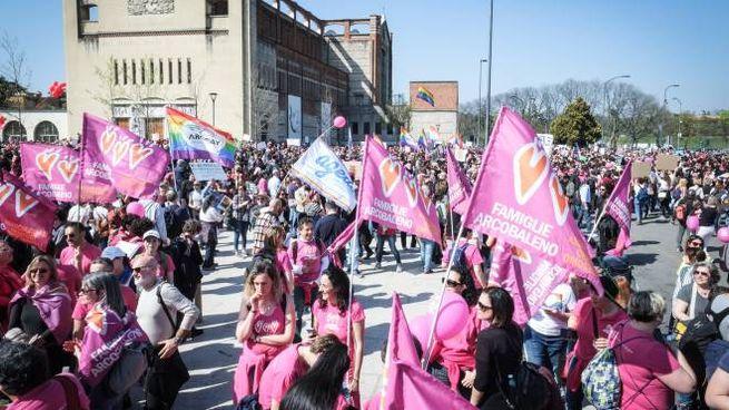 Manifestanti a Verona, corteo contro il World Congress of Families (Lapresse)
