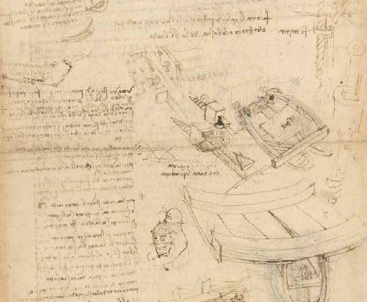 Uno dei preziosi documenti del Codice Atlantico esposti a Palazzo Vecchio