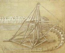 Il disegno della gru scavatrice, Leonardo da Vinci, Codice Atlantico