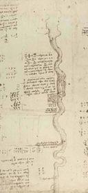 Pianta idrografica del fiume Adda, da CA, f. 911r, ed. a cura dell'Acc. dei Lincei