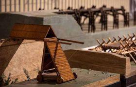 La riproduzione di una delle macchine militari proposte da Leonardo