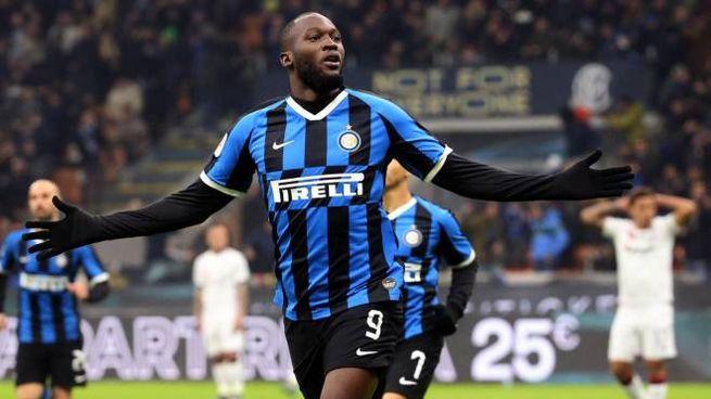Inter-Cagliari, Lukaku festeggia il gol (Ansa)