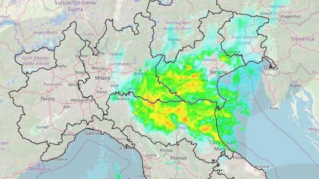 Il radar meteo della protezione civile, 18 gennaio 2020