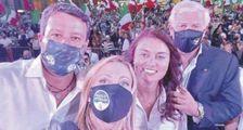Da sinistra Matteo Salvini (Lega), 47 anni, Giorgia Meloni (Fd'I), 43, la candidata Susann