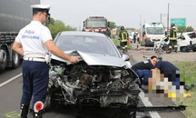 L'incidente mortale a Imola (foto Isolapress)