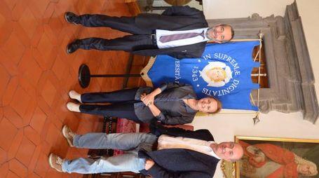 Il rettore Paolo Mancarella, Daria Mochly Rosen e il professor Corrado Priami