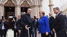Angela Merkel ad Assisi (foto Ansa)