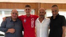 Mauro Semprini con il Presidente Masssimo Donati, il direttore generale Angelo Perriello, il direttore sportivo Andrea Luperini e il direttore organizzativo Fabio Taccola