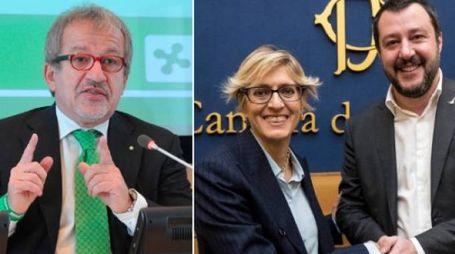 Roberto Maroni a sinistra. A destra Giulia Bongiorno con Salvini (LaPresse/NewPress)