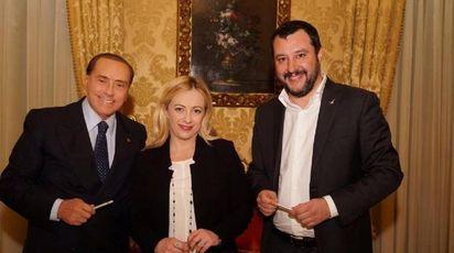Silvio Berlusconi, Giorgia Meloni, Matteo Salvini (Ansa)