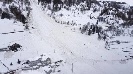La  valanga a Bionaz, Aosta (Ansa)