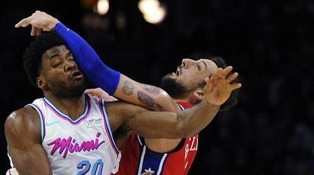 Justise Winslow, Miami Heat, e Marco Belinelli Philadelphia 76ers' (Ansa)
