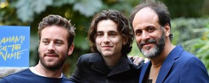Luca Guadagnino con Timothee Chalamet e Armie Hammer (Ansa)