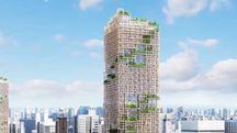 Il progetto del palazzo in legno a Tokyo - foto Sumitomo Forestry