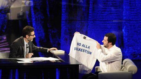 Fabio Fazio e Matteo Salvini (Ansa)