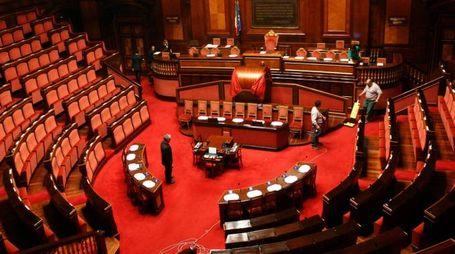 Grandi pulizie nel Senato deserto (Lapresse)