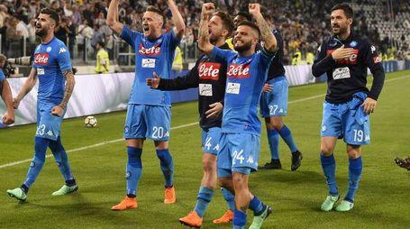 L'esultanza degli azzurri a Torino