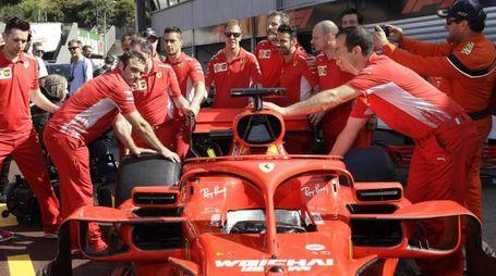 Gp Monaco 2018, il team Ferrari (Ansa)