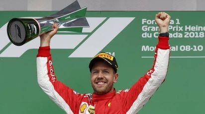 F1, Gp Canada, Sebastian Vettel sul podio (Ansa)