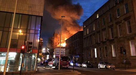 Glasgow, incendio alla scuola d'arte (Ansa)