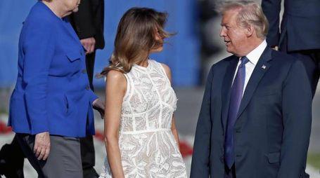 Angela Merkel e i coniugi Trump (Ansa)