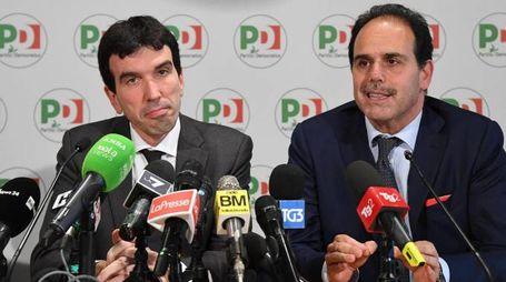 Pd, è ancora tutti contro tutti. Maurizio Martina e Andrea Marcucci (Ansa)
