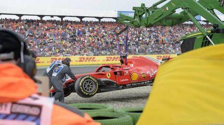 F1 Gp Germania 2018, l'incidente di Sebastian Vettel (Ansa)