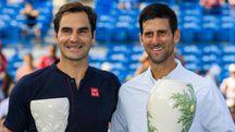 Federer e Djokovic in Ohio (Ansa)