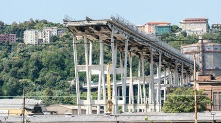 Sotto il ponte Morandi nella zona rossa di Via Porro (LaPresse)
