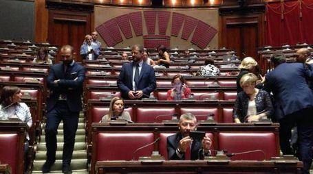 Milleproroghe, il Pd occupa l'Aula alla Camera (Ansa)