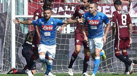 Torino-Napoli, l'esultanza di Insigne (Ansa)