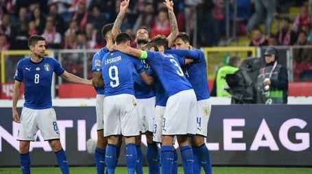 Polonia-Italia, l'esultanza di Biraghi (LaPresse)